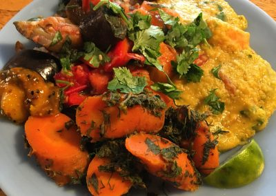 Indian-Style Carrots, Spicy Eggplant and Peppers, Red Lentil Curry