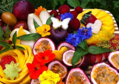 Fruit Platter with Flowers and Butterflies