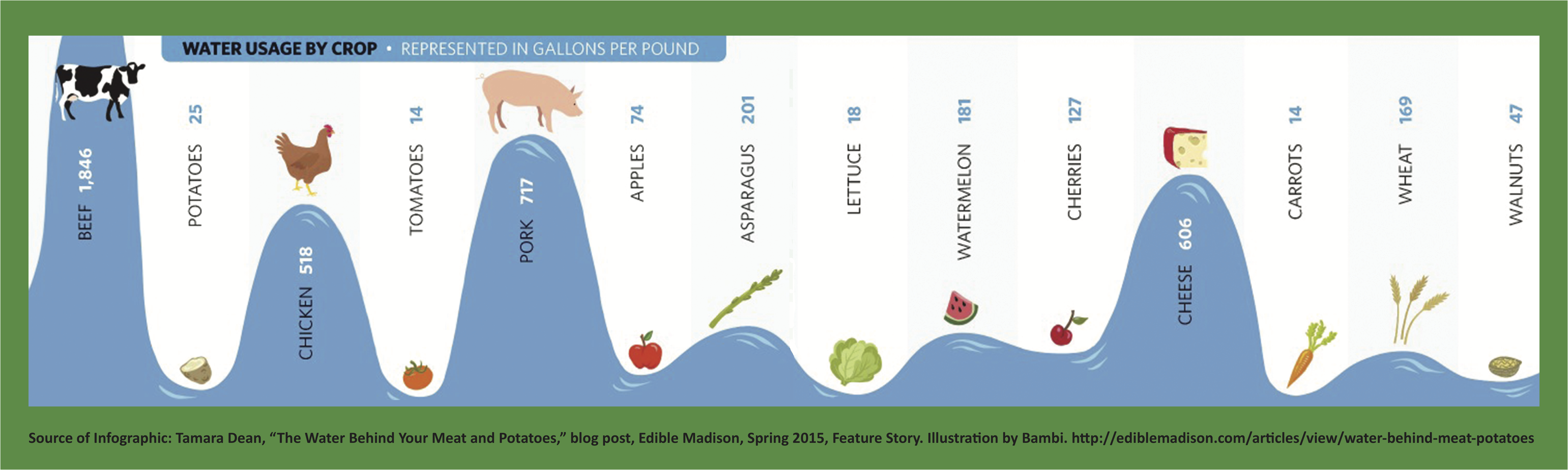 Water Usage of Foods Shown as Waves